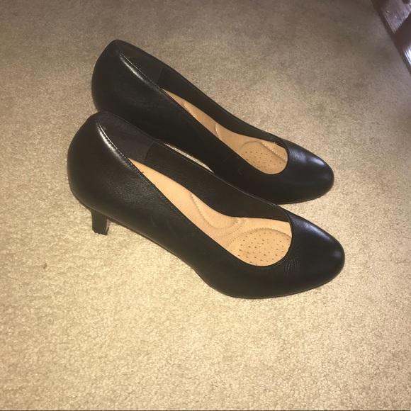 165de72a458f Clarks Shoes - Clark s Heavenly Heart Black Leather Heels